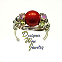 DWJ0345 Gorgeous Red Jasper Gemstone Solitaire Silver Wire Wrap Ring All Sizes