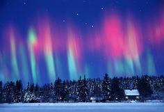 Snowscape With Aurora Borealis Surreal Play Of Colors In Norway Stock Photo 135558321