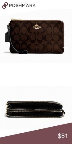 """Coach Signature PVC Double Zip Wallet 100% Authentic Coach!  Buy with confidence!  • MSRP: $175.00 • Style: F16109  Features: • Signature coated canvas • Six credit card slots • Full-length bill compartments • Double zip closure, fabric lining • Wrist strap attached • 8"""" (L) x 4 3/4"""" (H)  • Fits all phone sizes up to an iPhone 7 Plus and Samsung S7 Edge  Please feel free to ask any questions. Happy shopping! Coach Bags Wallets"""