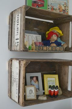 Lovely Shelter: mounting old apple crates for shelving Baby Boy Rooms, Baby Boy Nurseries, Baby Room, Vintage Baby Boy Nursery, Rustic Nursery Boy, Crate Shelves, Rustic Shelves, Crate Storage, Book Shelves