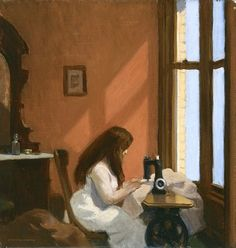 Girl at Sewing Machine is a 1921 painting by Edward Hopper, currently housed in the Museo Thyssen-Bornemisza in Madrid, Spain. American Realism, American Artists, American Life, Manet, Edouard Hopper, Edward Hopper Paintings, Ashcan School, Robert Rauschenberg, Art History