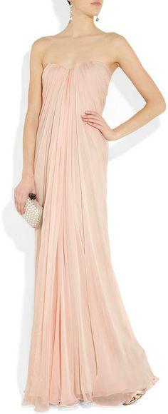 Alexander Mcqueen Silkchiffon Bustier Gown in Pink (blush)