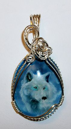NEW LISTING  Art glass cameo Wolf Pendant by JoaniesCreations, $53.00
