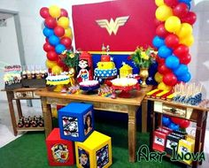 As you can see in today's post I want to share with all our readers the best ideas for decoration and organization for a Wonder Woman Theme Party. Wonder Woman Cake, Wonder Woman Birthday, Wonder Woman Party, Girl Birthday, Anniversaire Wonder Woman, Girl Superhero Party, Candy Party, Ladies Party, Birthday Decorations