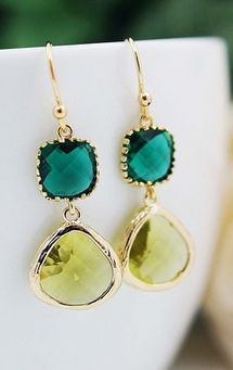 Gorgeous Citrine and Emerald Gem Earrings