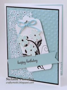 The Crafty Medic: Downline Birthdays - Stampin' Up! Sale-A-Bration Sweet Sorbet designer series paper and accessories kit, Petite Petals, Flowering Flourishes, Scallop Tag Topper Punch.