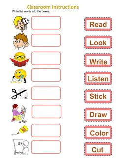 Classroom Instructions Language: English Grade/level: elementary School subject: English as a Second Language (ESL) Main content: Classroom Language Other contents: classroom words, instructions, commands English Teaching Materials, Learning English For Kids, English Lessons For Kids, Kids English, Learn English, French Lessons, English Study, Spanish Lessons, Learn French