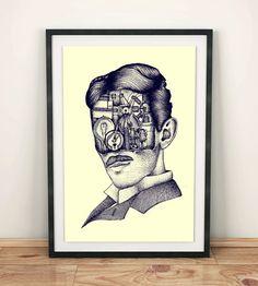 Nikola Tesla Art Print Large Art Print Wall Art by PoliteBastART