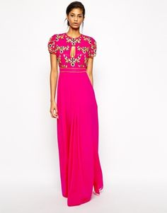 Enlarge Virgos Lounge Ivana Maxi Dress With Keyhole and Embellishment