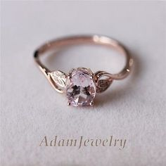 Special-Design-Morganite-Ring-Diamond-Morganite-Wedding-Ring-14K-Rose-Gold