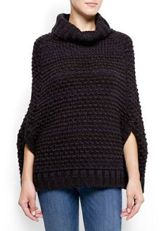 Knitted cape with turtle neck and two decorative welt pockets at front. Knit Or Crochet, Crochet Shawl, Handmade Clothes, Diy Clothes, Knitted Cape, Knitting For Kids, Knitting Stitches, Knit Patterns, Crochet Clothes