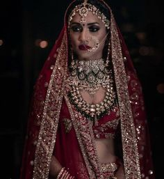 51 Most Beautiful Indian Bridal Makeup Looks and Clothing Ideas - Dulhan Images - AwesomeLifestyleFashion Indian Bridal Outfits, Indian Bridal Lehenga, Indian Bridal Fashion, Indian Bridal Makeup, Indian Wedding Jewelry, Indian Bridal Wear, Bridal Jewelry, Bridal Dresses, Indian Weddings