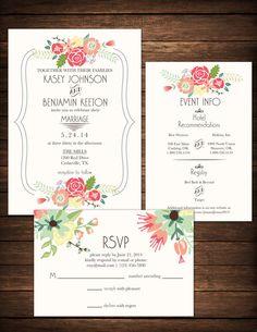 Invitación de boda DIY imprimible crema por KristianDianeDesign