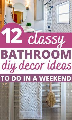 Wow, These DIY Bathroom Decor Ideas Look AMAZING! I am so glad I found these easy Diy Bathroom Decor, Bathroom Styling, Small Bathroom, Diy Home Decor, Diy Projects To Try, Dollar Stores, Christmas Diy, Budget, Classy