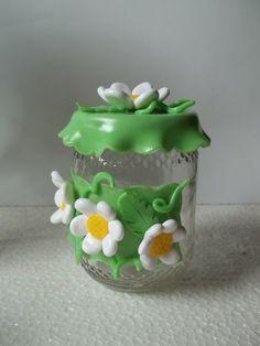 vidro decorado com biscuit