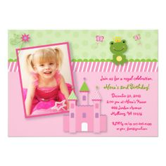 Princess Frog Castle Photo Birthday Invitations