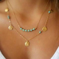 New gold silver chain beads leaves pendant necklace fashion jewelry mu – intothea Coin Necklace, Tribal Necklace, Beaded Necklace, Pendant Necklace, Strand Necklace, Turquoise Pendant, Turquoise Jewelry, Fashion Jewelry Necklaces, Fashion Necklace