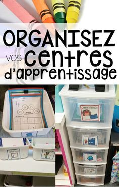 Classroom tips & tricks, resources and teaching ideas for the primary French classroom - immersion or French first-language Kindergarten Classroom Organization, Kindergarten Centers, Teacher Organization, Learning Centers, Literacy Centers, Classroom Management, Classroom Ideas, Organizing, Teaching Tools