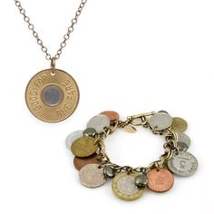 "Love the look - love the savings! $140   A little bit retro, a little bit downtown chic, there is no need for a metro card when you're wearing this set!  - Brass  - 25"" long necklace with lobster clasp closure  - Authentic foreign coins accented with Pyrite, dangling from an antique silvertone chain and matching lobster clasp closure  Item # AST80001001"