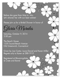 Poppies Gray Bridal Shower Invitations