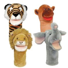"Get Ready Kids Bigmouth Zoo Puppet Set by Get Ready Kids. $28.57. From the Manufacturer                Large 12"" puppets with moveable mouths are surface washable. Set of 4 zoo puppets includes tiger, lion, elephant and monkey.                                    Product Description                Large 12"" puppets with moveable mouths are surface washable. Set of 4 zoo puppets includes tiger, lion, elephant and monkey."