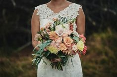 Pretty in peach wedding bouquet