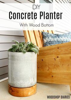 DIY Concrete Planter Pot–With Wooden Base Tutorial - Modern