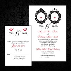 Bicycle Built For Two SameSex Wedding Invitations Two Brides