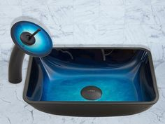 VIGO Rectangular Turquoise Water Glass Vessel Sink and Waterfall Faucet Set for $174.99