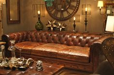 Classic Chesterfield Extra Deep Sofa With Tufted Back And Three Cushion Seat Also Brown Distressed Leather Fabrics With Sofa Sectionals And Sofas, Cool Design of Extra Deep Sofa: Living Room Extra Deep Sofa, Deep Couch, Best Leather Sofa, Leather Sofas, Chesterfield Bank, Brown Couch, Comfy Sofa, Leather Furniture, Cool Ideas
