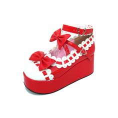 3.1 Heel 1.6 Platform Red White Bow Ankle Straps Lolita Shoes ($60) ❤ liked on Polyvore featuring shoes, pumps, lolita, ankle strap platform pumps, red pumps, white ankle strap pumps, red high heel pumps and white pumps