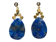 Russian Lapis and Brass Cube Earrings
