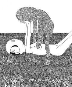 """""""Pain Body"""" ink on paper, 8"""" x 10"""", Luke Ramsey, 2011"""