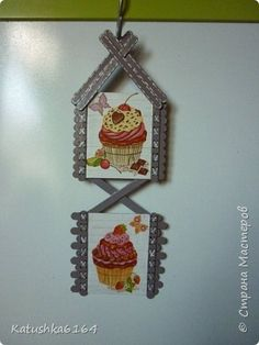 Decoupage, Stick Art, Popsicle Sticks, Diy Home Crafts, Recycling, Popsicles, Ice Cream, Clock, Diy Projects