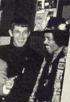 Leonard 'Spock' Nimoy and Jimi Hendrix... there is almost too much badassness in this photo to handle