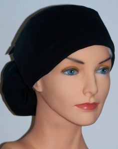 Inspiration: Womens Perfect Fit Ponytail Surgical Scrub Hat Cap- Black
