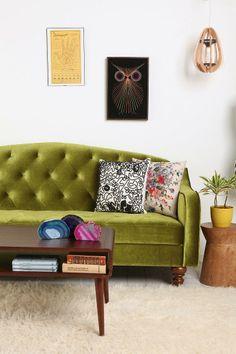 Urban Outfitters - Ava Velvet Tufted Sleeper Sofa in Moss Velvet Furniture, Tufted Sofa, Sofa Bed, Love Seat, Living Spaces, Living Rooms, Family Room, Sweet Home, New Homes
