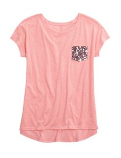 Sequin Pocket Long Tee | Girls Clothes New Arrivals | Shop Justice