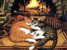 ♥CAT♥ 363 CURLED UP BY THE FIRE