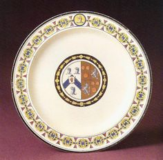 Queen's ware plate, printed and painted with the arms of Honeywood and Courtenay, c1796.