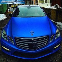 This Benz wrap is a beauty in 3M 1080 Satin Perfect Blue. Wrapped by Auto Sports, autosportsbx.com