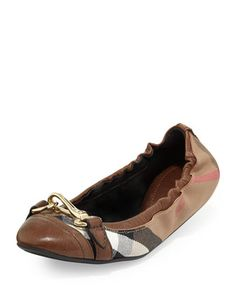 Scrunch Check Ballerina Flat, Dark Tan by Burberry at Neiman Marcus.