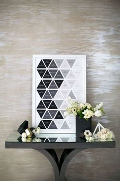 This geometric seating display in neutral colours gives off a modern, industrial vibe. Photo via Grey Likes Weddings . Daisy Wedding Flowers, Modern Wedding Flowers, Winter Wedding Flowers, Wedding Flower Decorations, Wedding Colors, Edgy Wedding, Copper Wedding, Flowers Decoration, Wedding Ideas