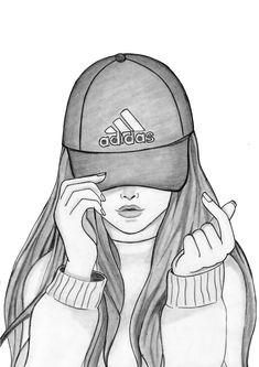 Drawing a Girl With Cap by DrawingTimeWithMe Girl Drawing Sketches, Cute Girl Drawing, Girly Drawings, Art Drawings Sketches Simple, Pencil Art Drawings, Drawing Ideas, Cap Drawing, Tumblr Girl Drawing, Sketches Of Girls