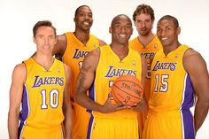 The new Los Angeles #Lakers starting five pose on Media Day. #NBA #Kobe