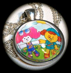 POOCHIE & FASTBALL . Glass Pendant Necklace . Pink by girlgamegeek, $11.11