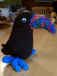Toucan crocheted by Rebecca (pattern by www.tulipsquare.com.) It's hard to crochet when you're giggling!!