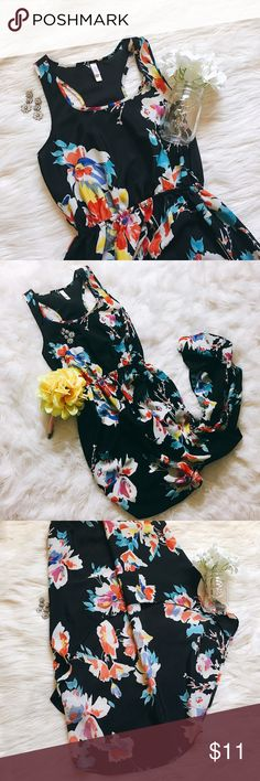 🎉Flash Sale Item🎉 FLORAL HIGH LOW DRESS Pretty little black high-low dress adorned with white, yellow, and blue flowers. Elastic waistband, lightweight, super comfy. Next day shipping. Xhilaration Dresses High Low