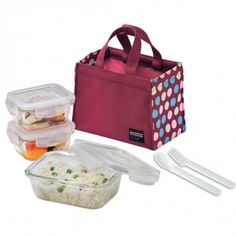 Heat resistant Boroseal Glass lunch box set in wine color - All time favorite