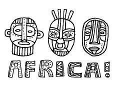 Desenho de Tribos da África para Colorir